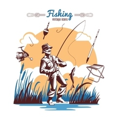 Fishing Vintage Icons Composition vector