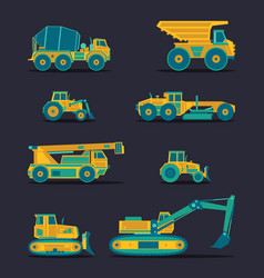flat icons set of construction vehicles vector image