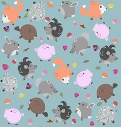 Funny pattern with animals berries and mushrooms vector image