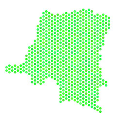 green hexagonal democratic republic of the congo vector image