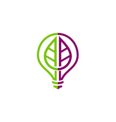 Green leaf light bulb creative logo vector