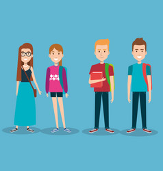 Group of happy students with book backpacks vector