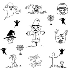 Halloween scarecrow and ghost in doodle vector