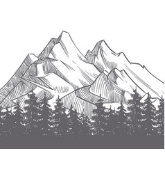 hand drawn nature landscape with mountains and vector image