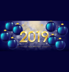 happy new year 2019 greeting card new year winter vector image