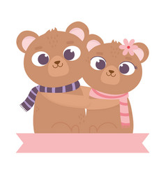 Happy valentines day cute couple bear hugging vector