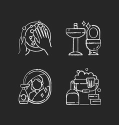 Housewife chores chalk white icons set on black vector