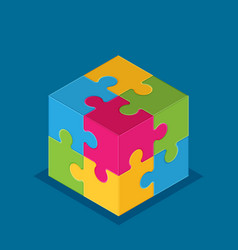 isometric cube of four joined puzzle pieces of vector image