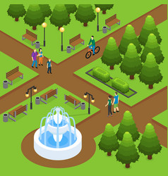 isometric summer park concept vector image