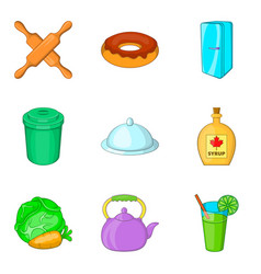 Kitchenware icons set cartoon style vector