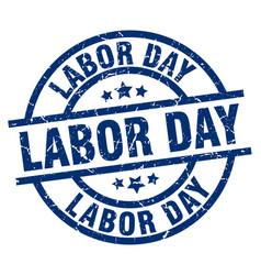 Labor day blue round grunge stamp vector