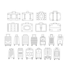 luggage icon set backpack handbag suitcase vector image