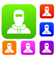 Man in balaclava set collection vector