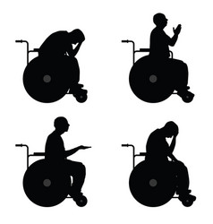 man in wheelchairs silhouette vector image