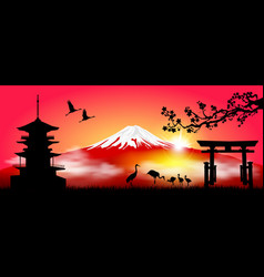 mount fuji in the morning at sunrise vector image