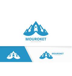 mountain and rocket logo combination vector image