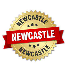 Newcastle round golden badge with red ribbon vector
