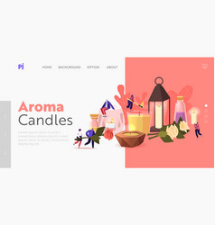 People use aroma candles at home landing page vector