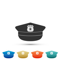 Police cap with cockade icon police hat sign vector