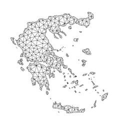 polygonal carcass mesh map of greece vector image