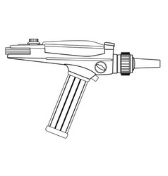 Ray gun line drawing vector
