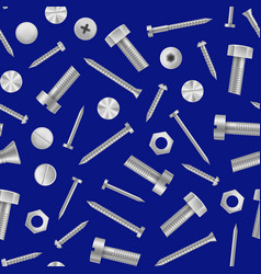 realistic detailed 3d metal screws and bolts vector image