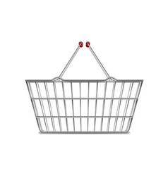 Realistic metal empty supermarket shopping basket vector