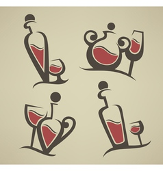 red wine bottle and glasses vector image vector image