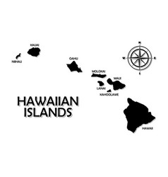 rough and not detailed hawaiian islands on white vector image
