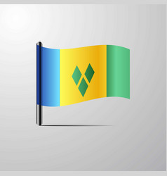 Saint vincent and grenadines waving shiny flag vector