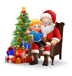 santa claus sitting with a little cute boy vector image