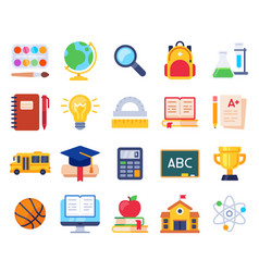 school icons education process students vector image
