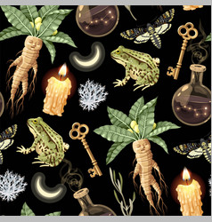 Seamless magic pattern with supply for witchcraft vector