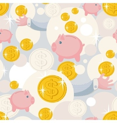 Seamless pattern with saving pigs and money vector