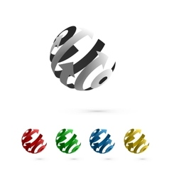 Set of Abstract Globe Rotating Arrows vector