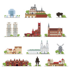 set of belarus country buildings famous places in vector image