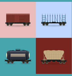 Set of freight rail wagons vector
