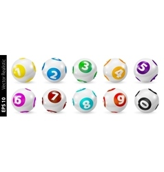Set of Lottery Colored Number Balls 0-9 vector image