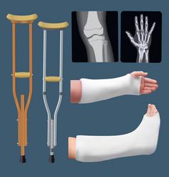 Set of medicine traumatology objects treatment of vector