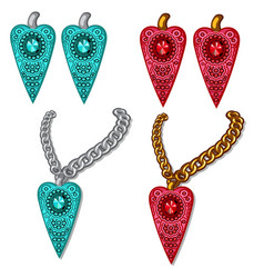 Set of pendants and earrings blue and red vector