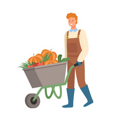 Smiling man working on field cart with pumpkin vector
