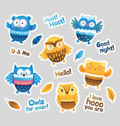 Stickers designs with blue and orange owls and vector