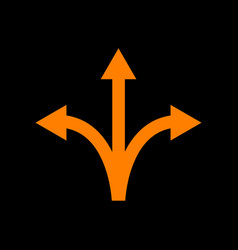 Three-way direction arrow sign orange icon on vector