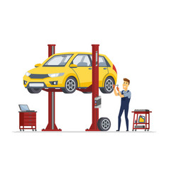tire service - modern cartoon character vector image