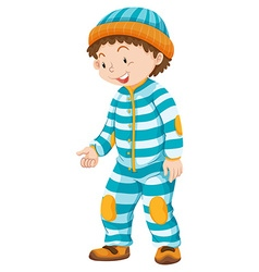 Toddler boy in blue striped jumpsuit vector