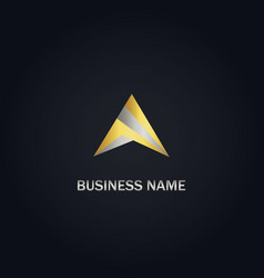 triangle abstract shape gold logo vector image