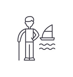 vacation planning line icon concept vacation vector image