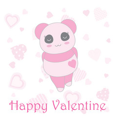 valentines day with cute baby pink panda on heart vector image