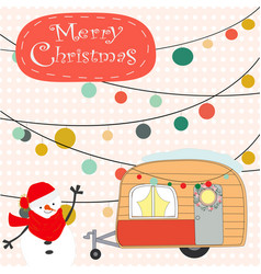 Vintage cute merry christmas van cartoon vector