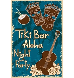 Vintage Tiki bar poster vector
